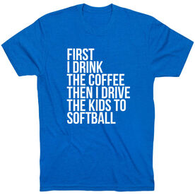 Softball Short Sleeve T-Shirt - Then I Drive The Kids To Softball