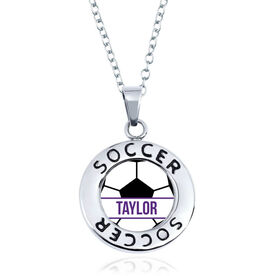 Soccer Circle Necklace - Ball With Name