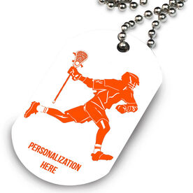 Lacrosse Printed Dog Tag Necklace Lacrosse Player
