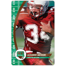 """Football 18"""" X 12"""" Aluminum Room Sign - Player Photo With Logo"""