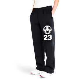 Soccer Fleece Sweatpants - Soccer Ball With Number