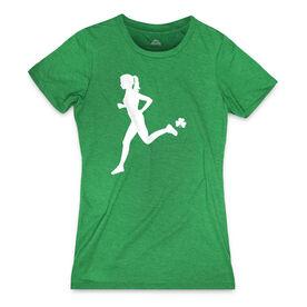 Women's Everyday Runners Tee Female Runner With Shamrock