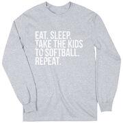Softball Long Sleeve Tee - Eat Sleep Take The Kids To Softball