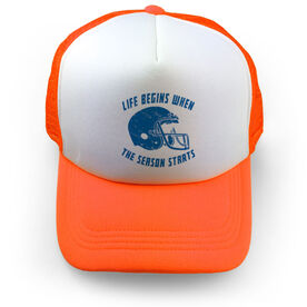 Football Trucker Hat Life Begins When the Season Starts