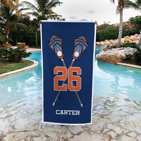 Guys Lacrosse Premium Beach Towel - Personalized Crossed Sticks with Big Number