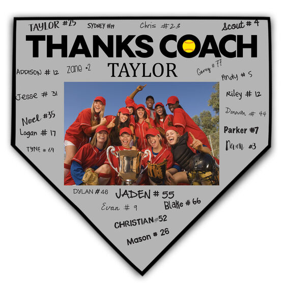 Softball Home Plate Plaque - Thank You Coach Photo Autograph