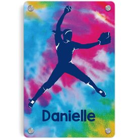 Softball Metal Wall Art Panel - Personalized Pitcher With Tie-Dye