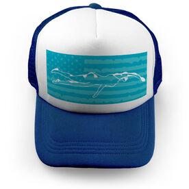 Swimming Trucker Hat - My Patriotic Swimmer (Girl)