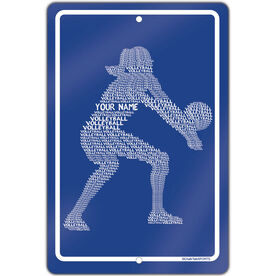 """Volleyball Aluminum Room Sign Personalized Volleyball Player Words (18"""" X 12"""")"""