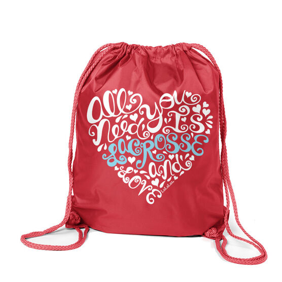 Girls Lacrosse Sport Pack Cinch Sack - All You Need is Lacrosse and Love