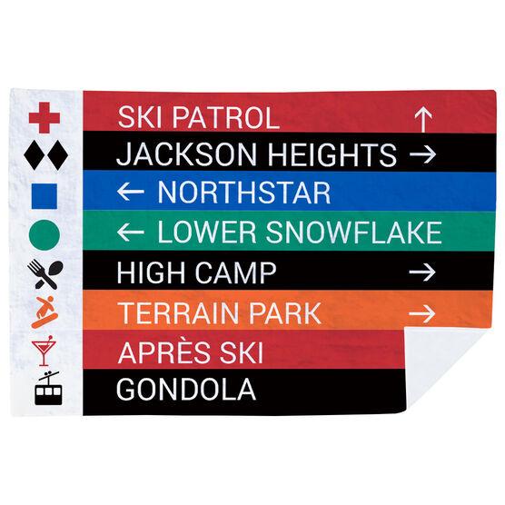 Skiing & Snowboarding Premium Blanket - Closeup Sign