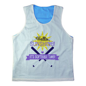 Girls Softball Racerback Pinnie Personalized Hello Sunshine It's Softball Time Purple