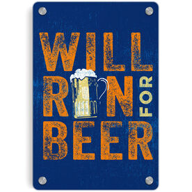 Running Metal Wall Art Panel - Will Run For Beer