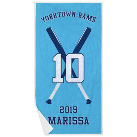 Softball Premium Beach Towel - Personalized Team with Crossed Bats