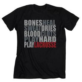 Guys Lacrosse Short Sleeve T-Shirt - Bones Saying