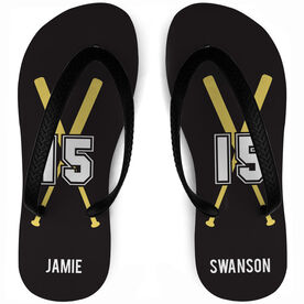 Baseball Flip Flops Personalized Player with Bats