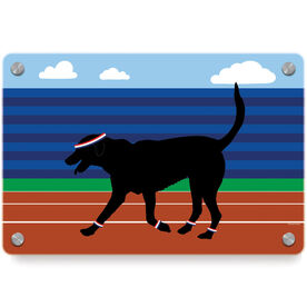 Track and Field Metal Wall Art Panel - Terrence the Track Dog