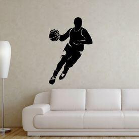 Basketball Guy Dribbling Silhouette Removable ChalkTalkGraphix Wall Decal