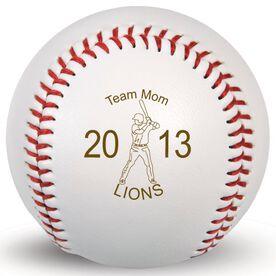 Baseball Team Mom Player Laser Engraved Baseball