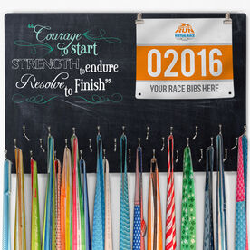 Running Large Hooked on Medals and Bib Hanger - Chalkboard Courage To Start