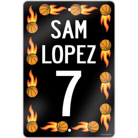 """Basketball Aluminum Room Sign Personalized Basketball Speed Sign With Flames (18"""" X 12"""")"""