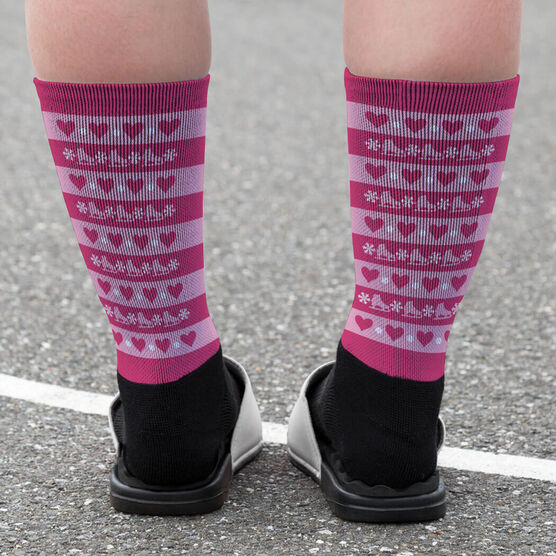 Figure Skating Printed Mid-Calf Socks - Skates and Snowflakes