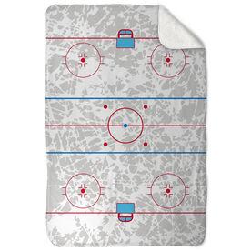 Hockey Sherpa Fleece Blanket - Rink (With Ice Background)