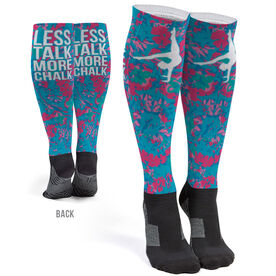 Gymnastics Printed Knee-High Socks - Less Talk More Chalk