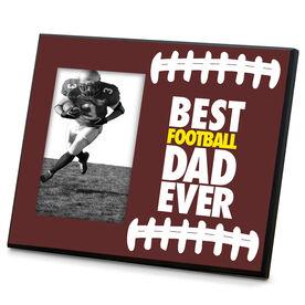 Football Wood Frame Best Dad Ever