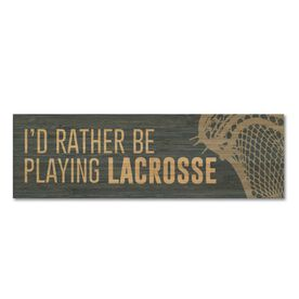 """Guys Lacrosse 12.5"""" X 4"""" Printed Bamboo Removable Wall Tile - I'd Rather Be Playing Lacrosse"""