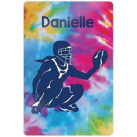 """Softball 18"""" X 12"""" Aluminum Room Sign - Personalized Catcher With Tie-Dye"""