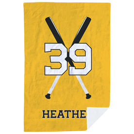 Softball Premium Blanket - Personalized Player with Crossed Bats