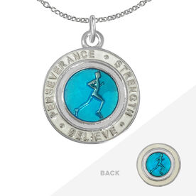Runner's Creed Pendant Necklace - 2.3cm Blue/White