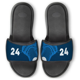 Guys Lacrosse Repwell™ Slide Sandals - Stick and Number Reflected