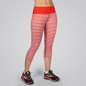 Running Performance Capris - Red & White Stripes