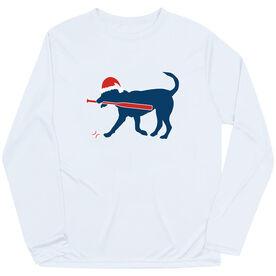 Baseball Long Sleeve Performance Tee - Play Ball Christmas Dog