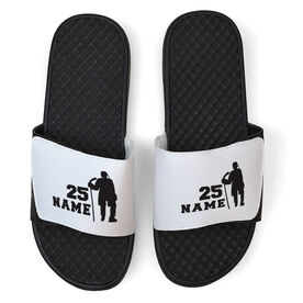 Hockey White Slide Sandals - Personalized Standing Hockey Player