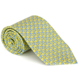 Laxer Players Pattern Yellow Lacrosse Silk Tie