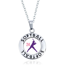 Softball Circle Necklace - Batter Silhouette With Number
