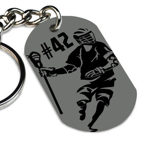 Guys Lacrosse Printed Dog Tag Keychain Personalized Lacrosse Player Dodging