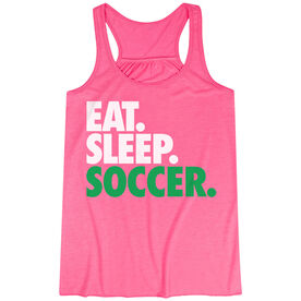 Soccer Flowy Racerback Tank Top - Eat Sleep Soccer (Bold Text)