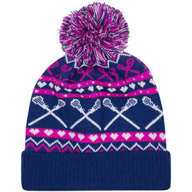 Girls Lacrosse Knit Hat - Crossed Sticks and Hearts