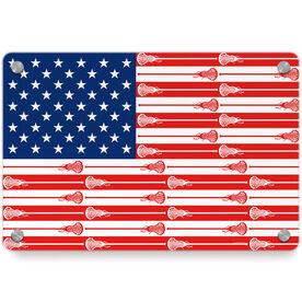 Girls Lacrosse Metal Wall Art Panel - USA Stick Flag (Girls Sticks)