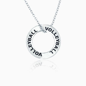 Volleyball Message Ring Necklace