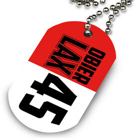 Lacrosse Printed Dog Tag Necklace Personalized Big Lax
