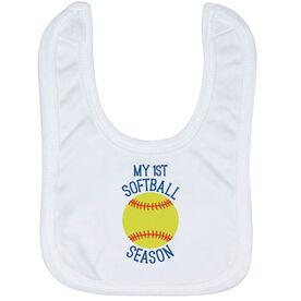 Softball Baby Bib - My First Softball Season