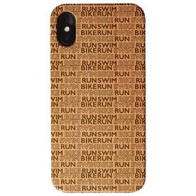 Triathlon Engraved Wood IPhone® Case - Swim Bike Run Pattern