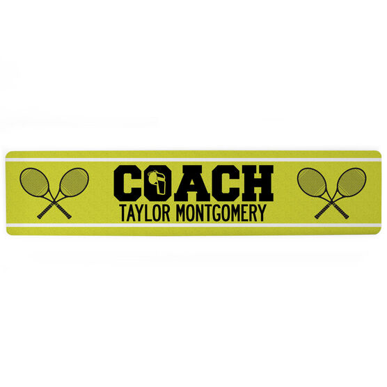 "Tennis Aluminum Room Sign - Coach Tennis (4""x18"")"