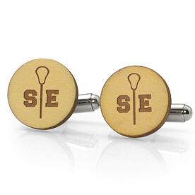Guys Lacrosse Engraved Wood Cufflinks Split Initials