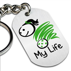 My Life Soccer (Female) Printed Dog Tag Keychain